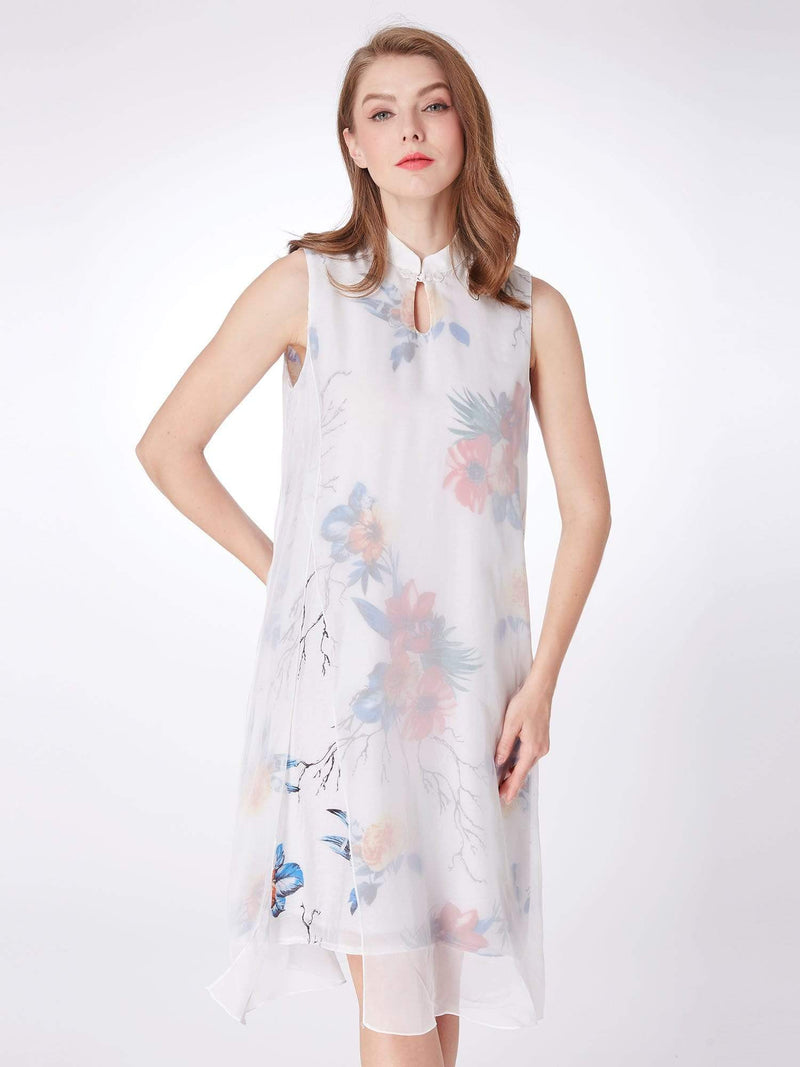 Alisa Pan Floral Print Short Shift Dress-White 4