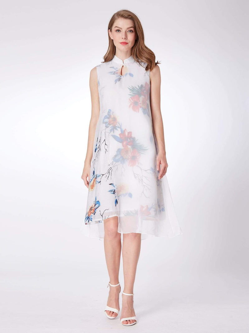 Alisa Pan Floral Print Short Shift Dress-White 1