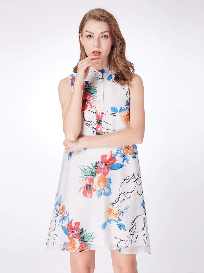 Alisa Pan Floral Print Summer Shift Dress-White 3
