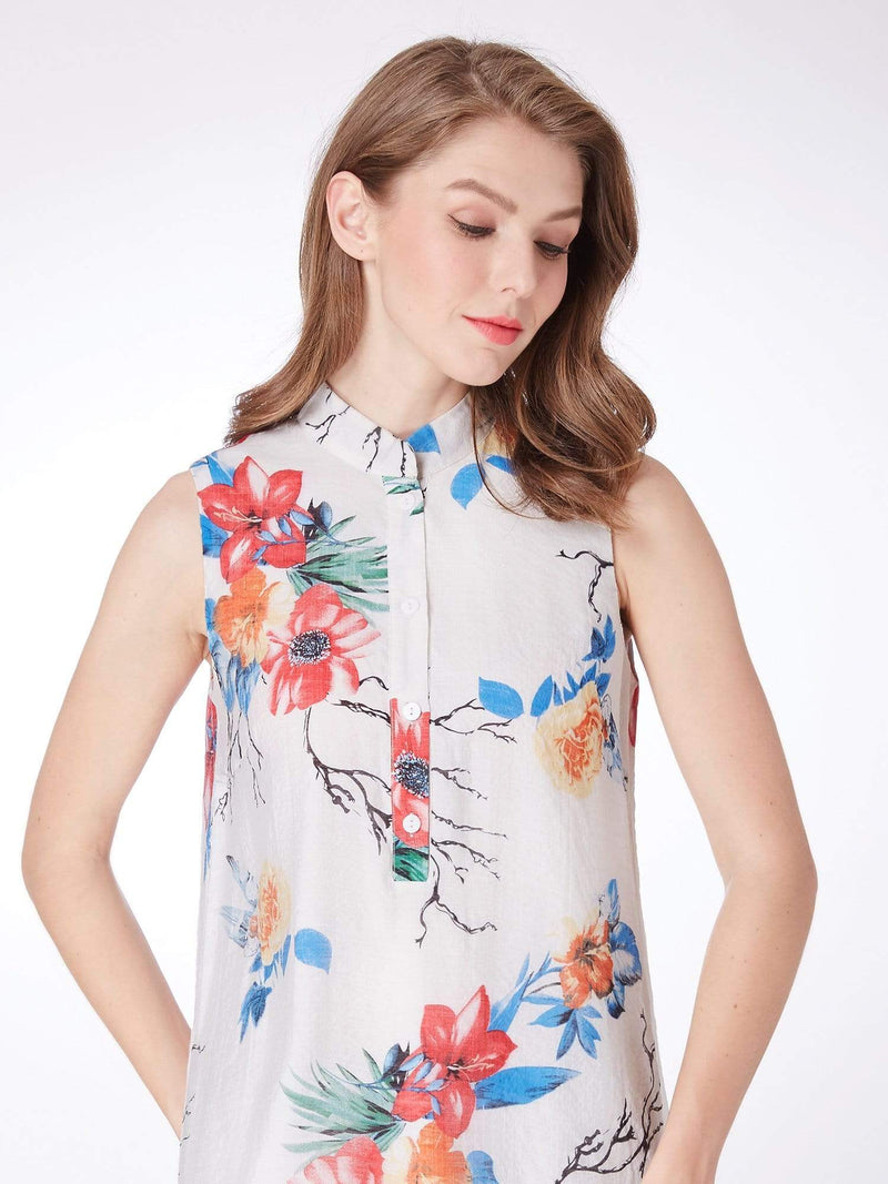 Alisa Pan Floral Print Summer Shift Dress-White 5