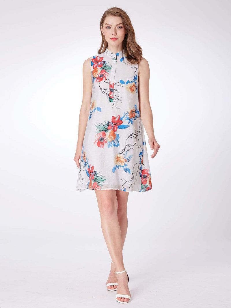 Alisa Pan Floral Print Summer Shift Dress-White 1