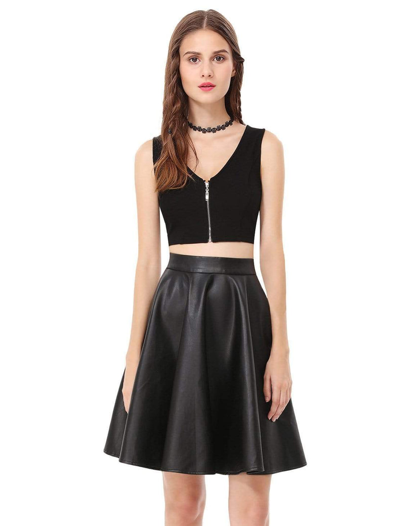 Alisa Pan Crop Top Skirt Little Black Dress-Black 2