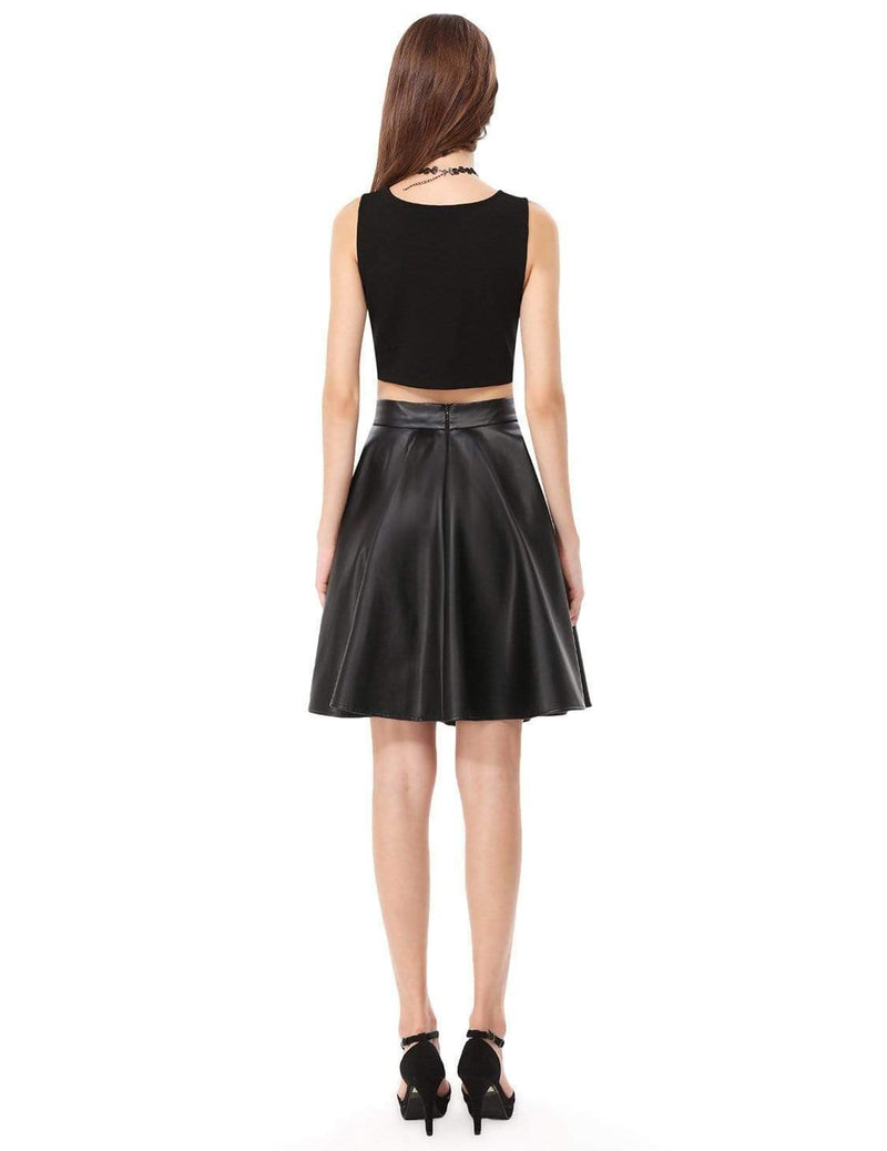 Alisa Pan Crop Top Skirt Little Black Dress-Black 3