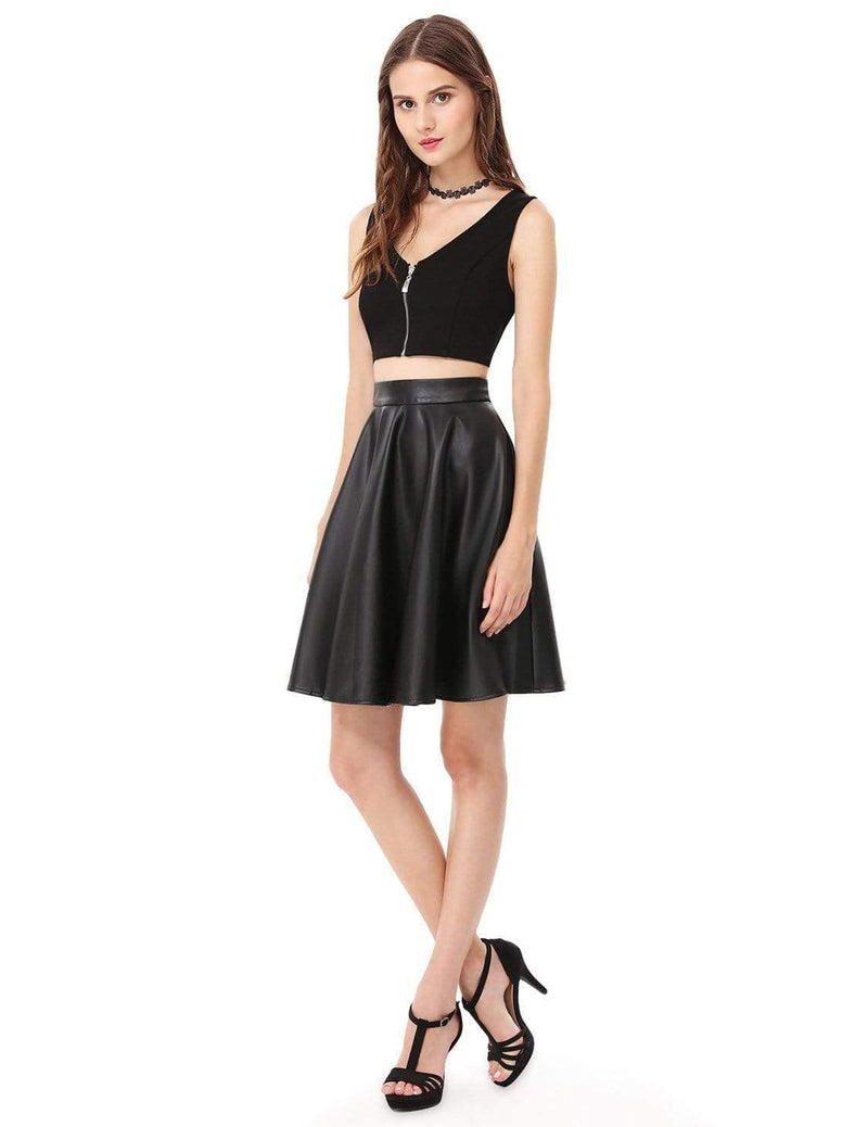 Alisa Pan Crop Top Skirt Little Black Dress-Black 4