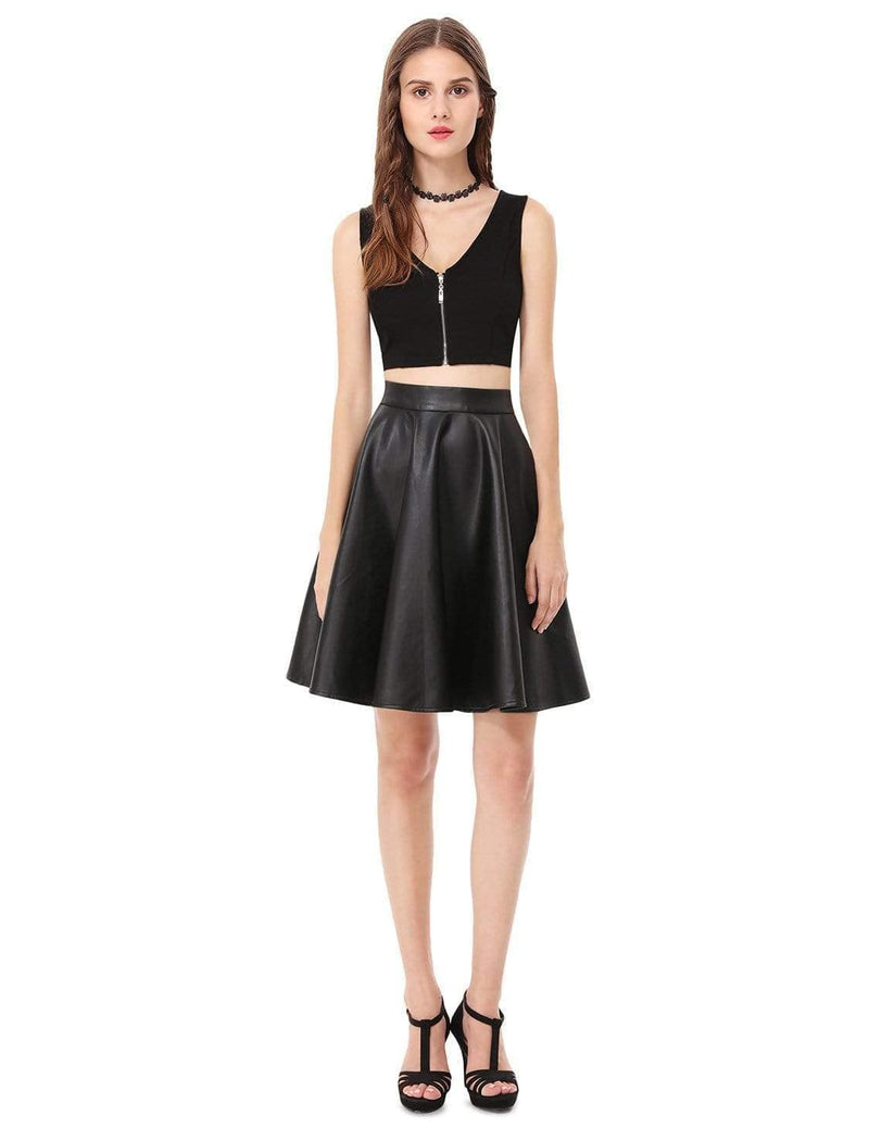 Alisa Pan Crop Top Skirt Little Black Dress-Black 1