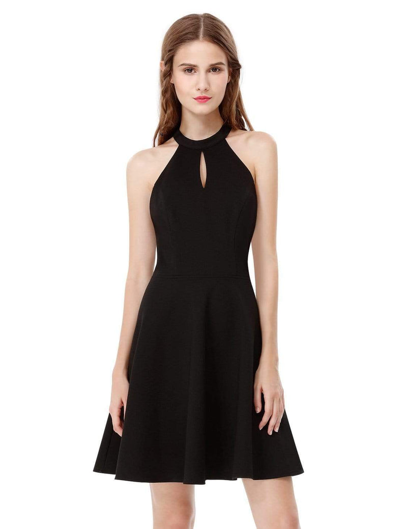 Alisa Pan Fit & Flare Little Black Dress With Keyhole Neckline-Black 2