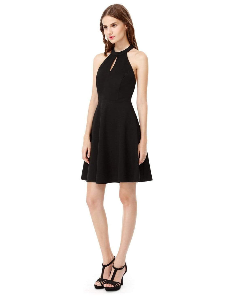 Alisa Pan Fit & Flare Little Black Dress With Keyhole Neckline-Black 4
