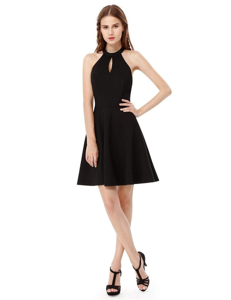 Alisa Pan Fit & Flare Little Black Dress With Keyhole Neckline-Black 5