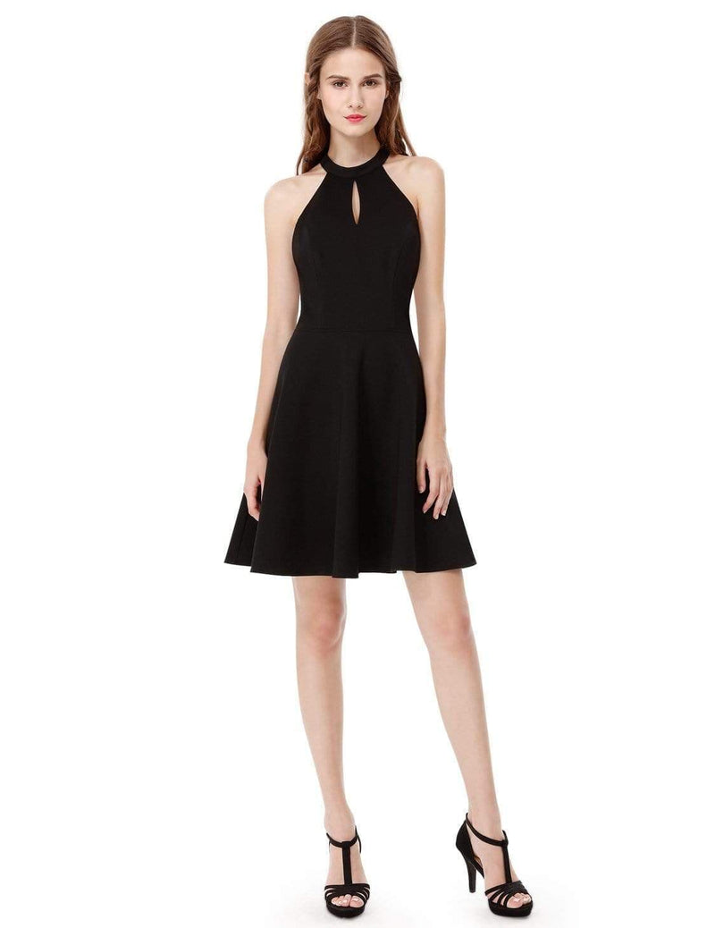 Alisa Pan Fit & Flare Little Black Dress With Keyhole Neckline-Black 1