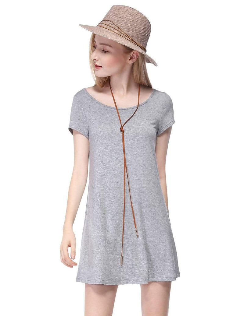 Alisa Pan Short Sleeve Casual T-Shirt Dress-Grey 2