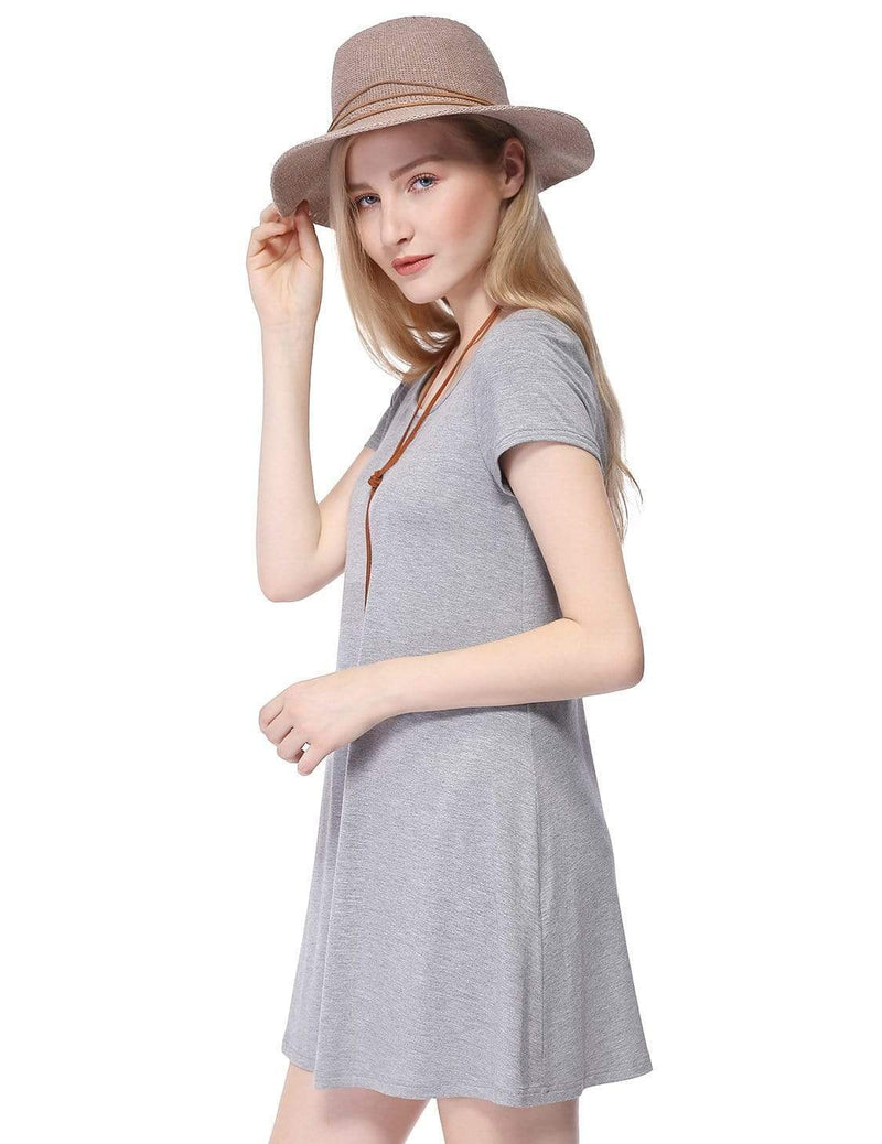 Alisa Pan Short Sleeve Casual T-Shirt Dress-Grey 4