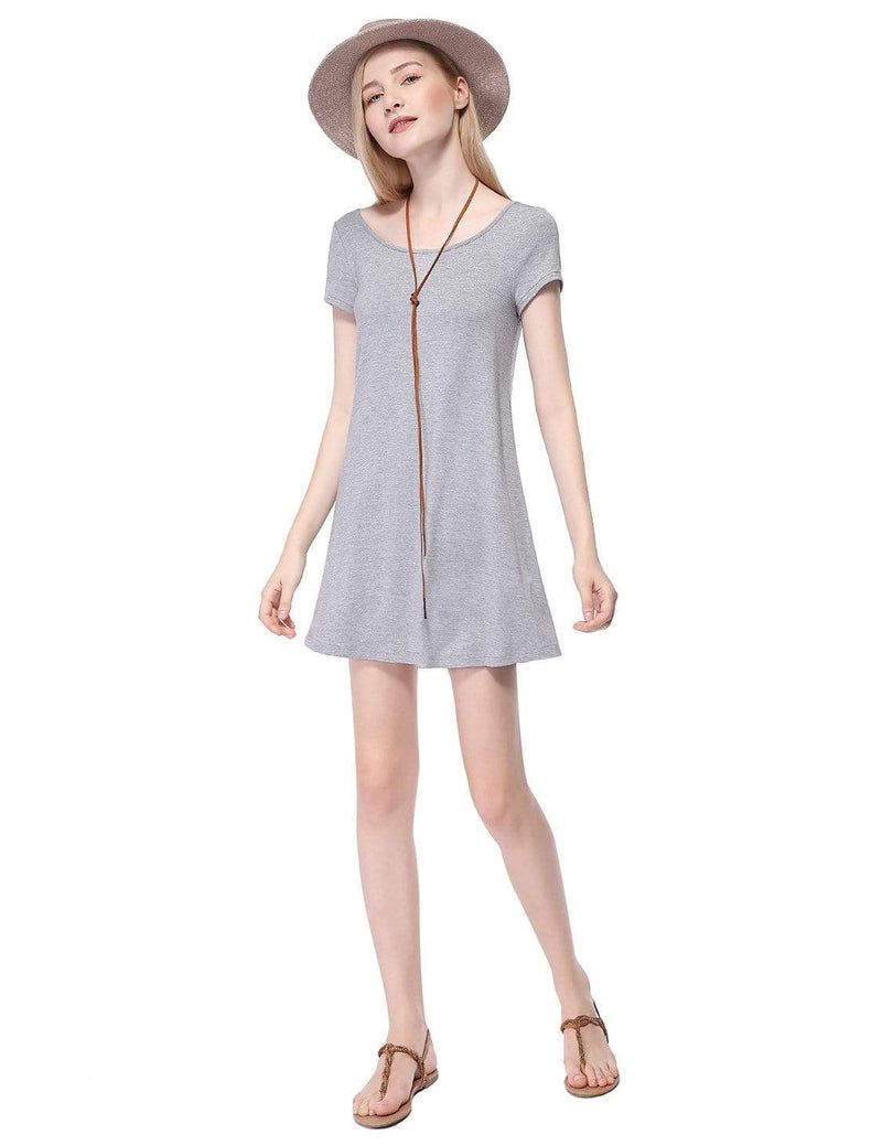 Alisa Pan Short Sleeve Casual T-Shirt Dress-Grey 5