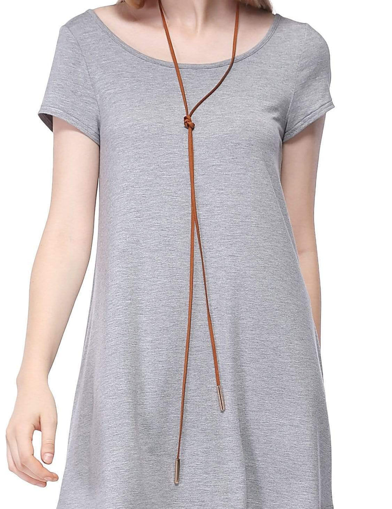 Alisa Pan Short Sleeve Casual T-Shirt Dress-Grey 6
