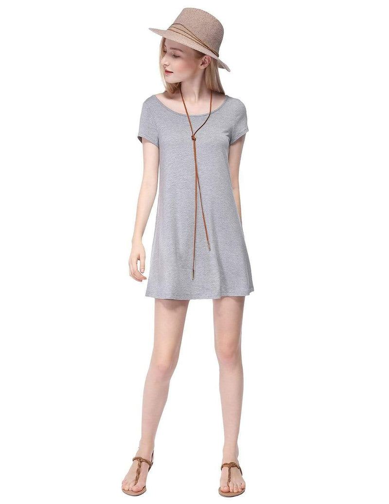 Alisa Pan Short Sleeve Casual T-Shirt Dress-Grey 1