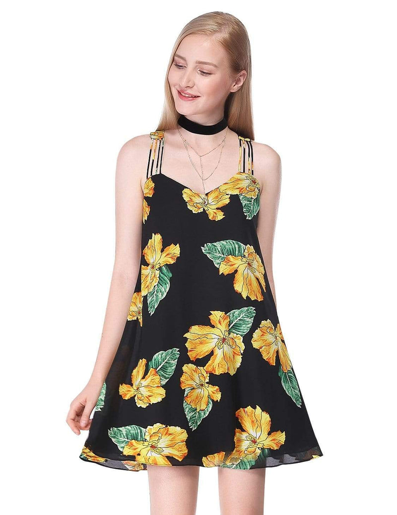 Alisa Pan Flowy Floral Summer Dress-Black 2