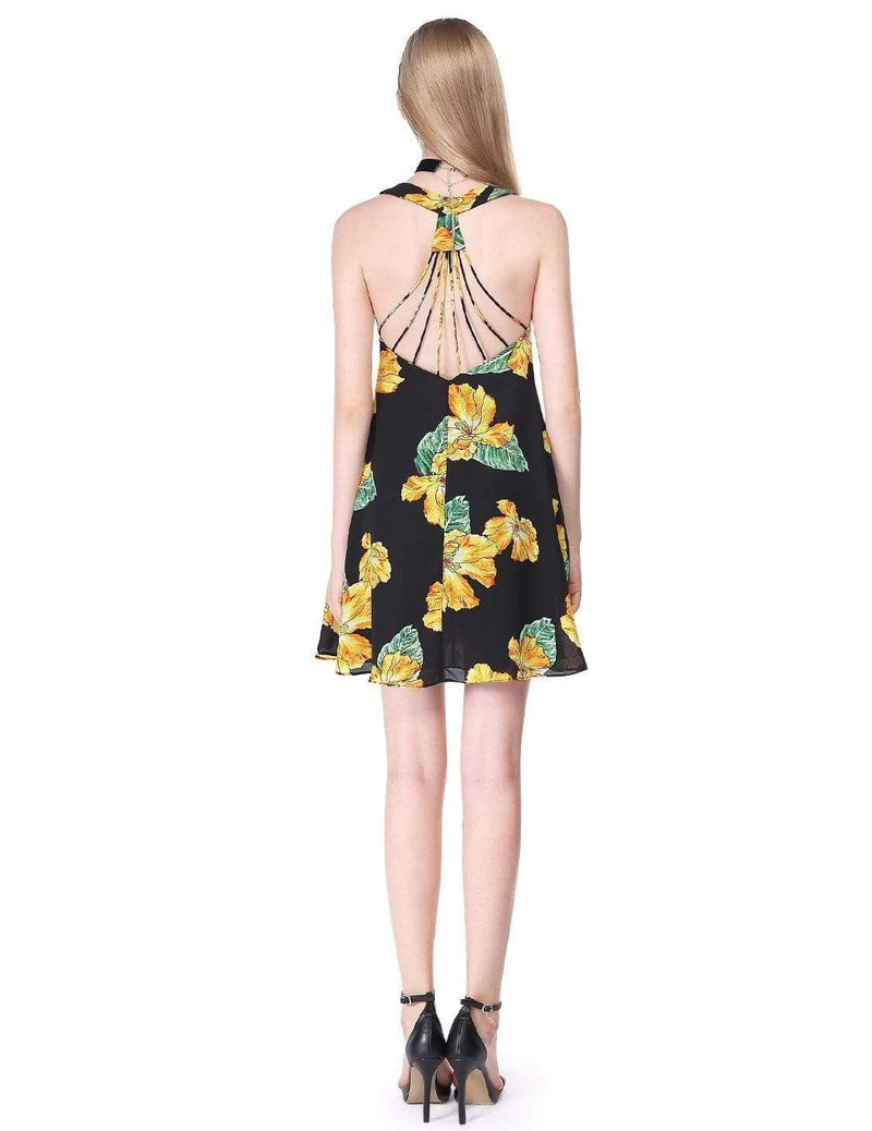 Alisa Pan Flowy Floral Summer Dress-Black 3