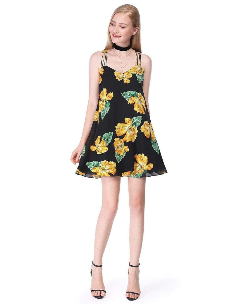 Alisa Pan Flowy Floral Summer Dress-Black 1