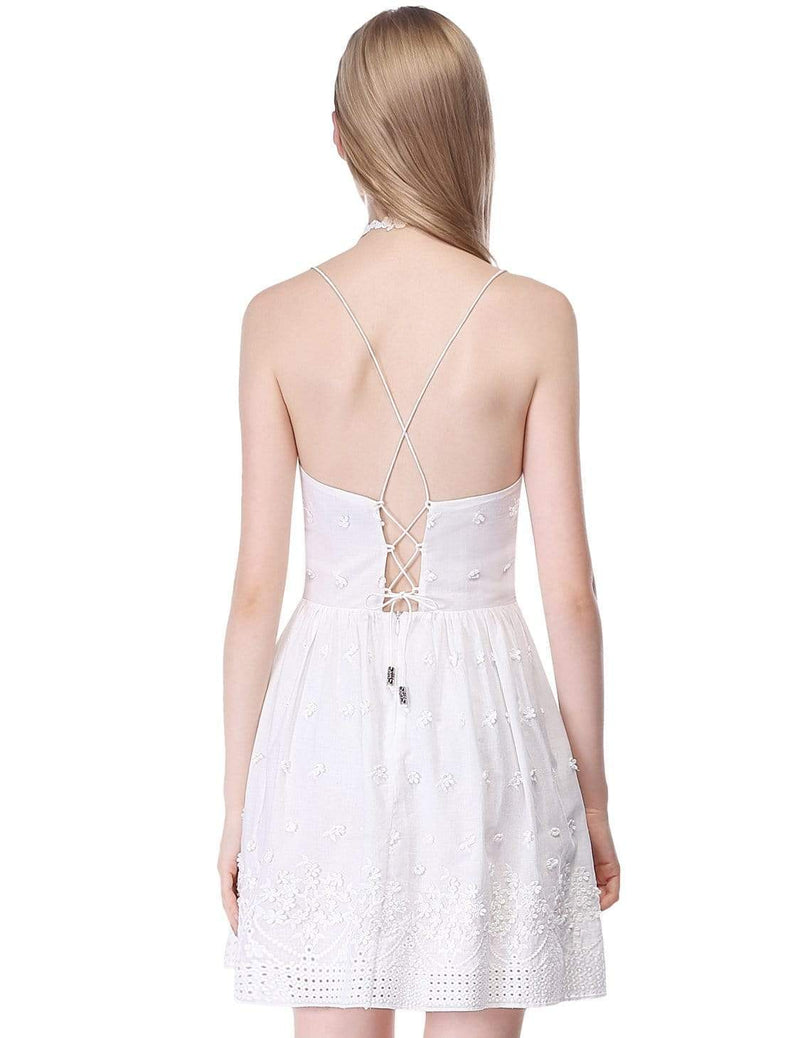 Alisa Pan Short Cross Back Fit And Flare Party Dress-Cream 3