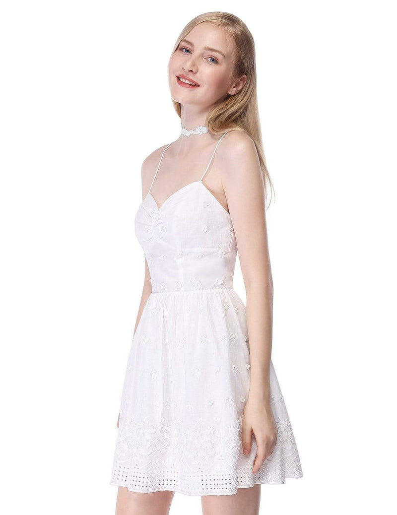 Alisa Pan Short Cross Back Fit And Flare Party Dress-Cream 4
