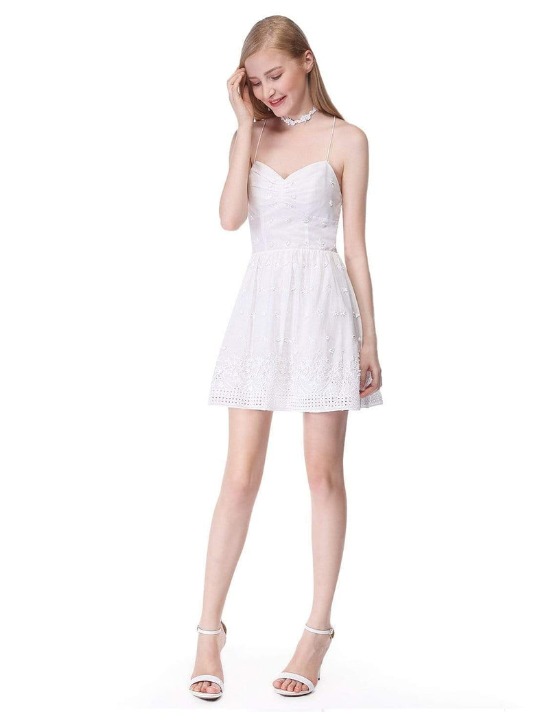 Alisa Pan Short Cross Back Fit And Flare Party Dress-Cream 5