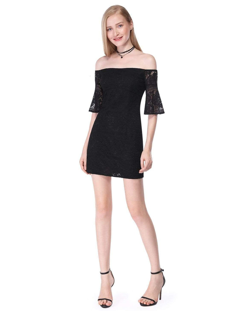 Alisa Pan Sexy Off Shoulder Little Black Dress-Black 1