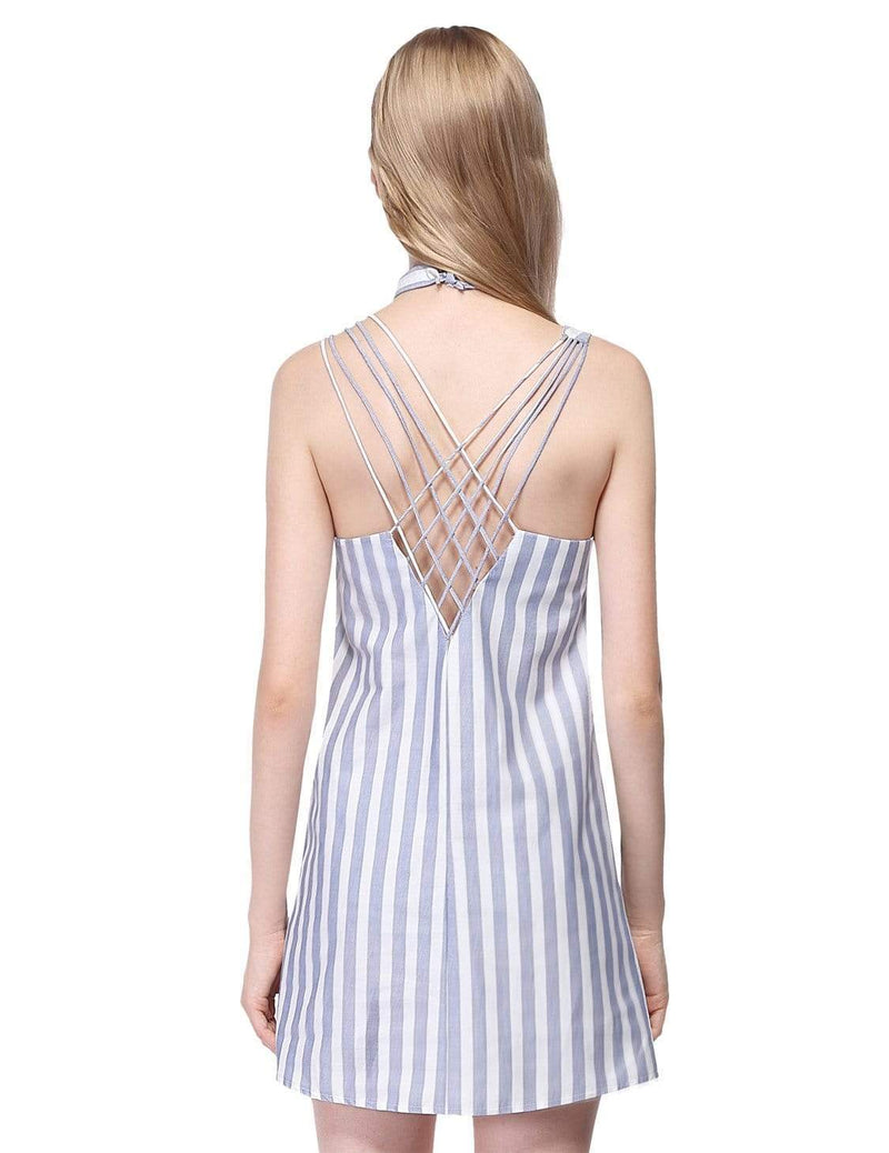 Alisa Pan Short Striped Summer Dress-White 3
