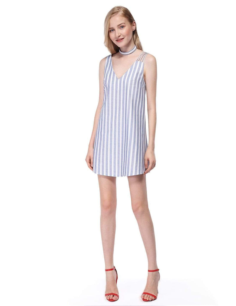 Alisa Pan Short Striped Summer Dress-White 4
