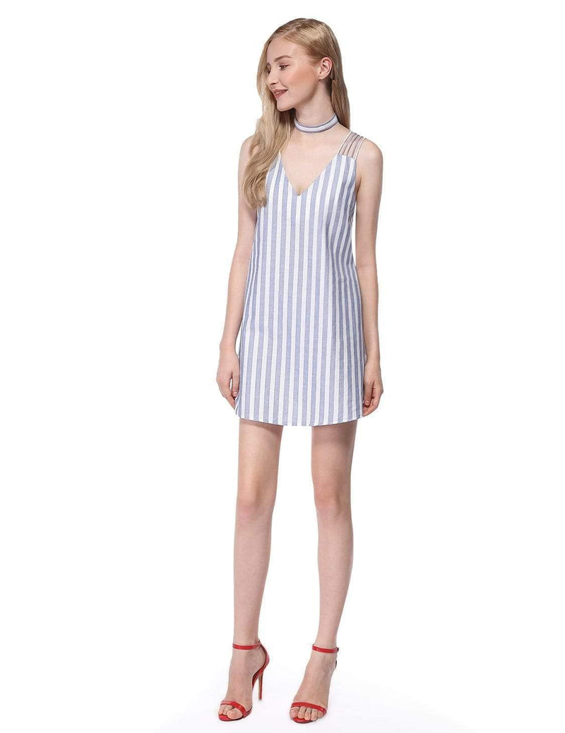 Alisa Pan Short Striped Summer Dress-White 5