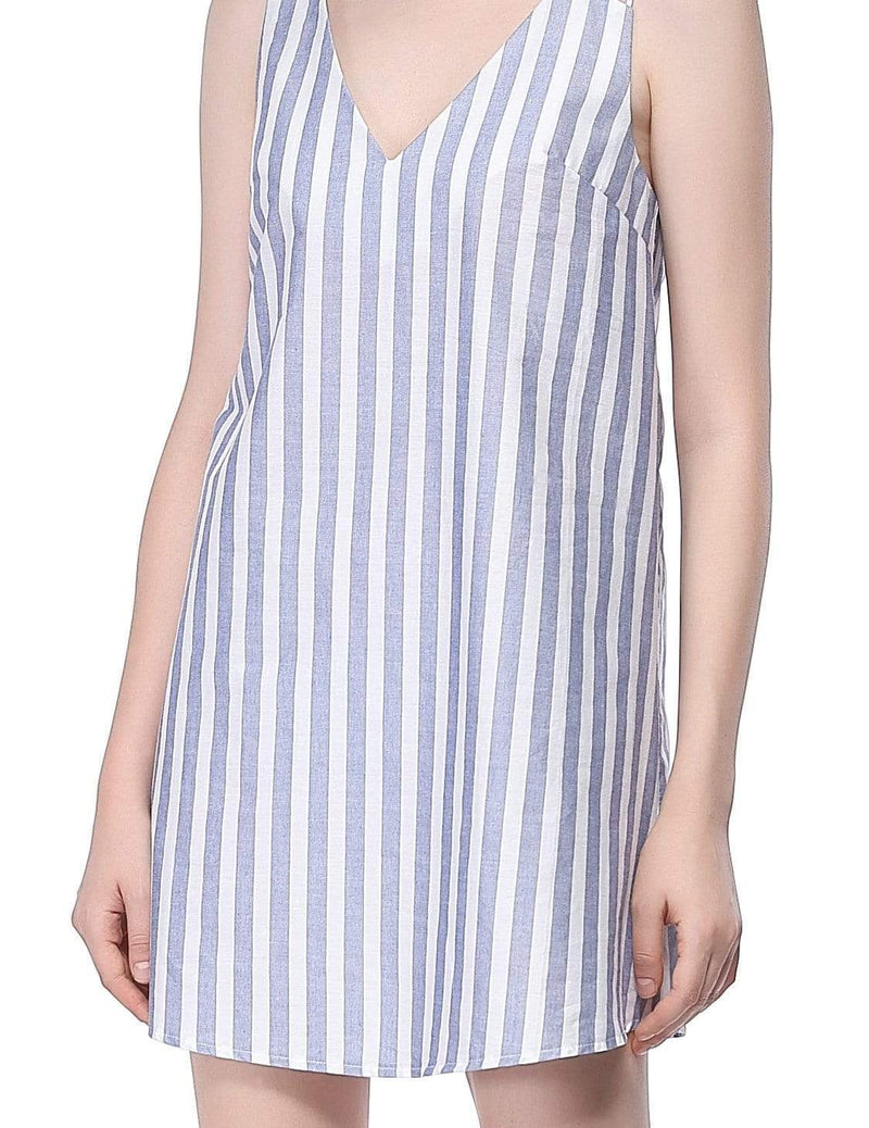 Alisa Pan Short Striped Summer Dress-White 6