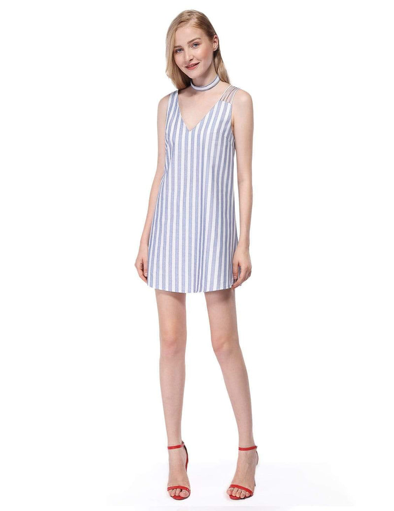 Alisa Pan Short Striped Summer Dress-White 1