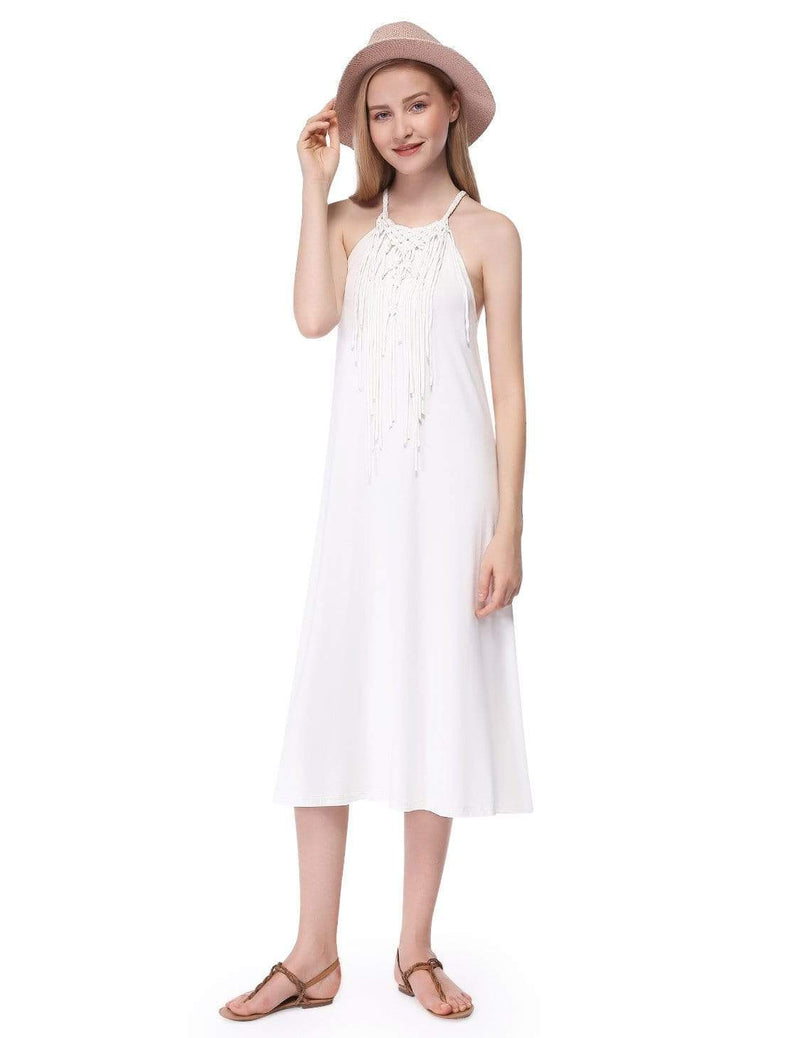Alisa Pan Boho Midi Summer Dress-Cream 1