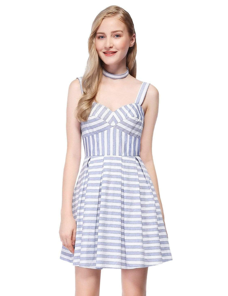 Alisa Pan Short Striped Dress With Fit & Flare Silhouette-White 2