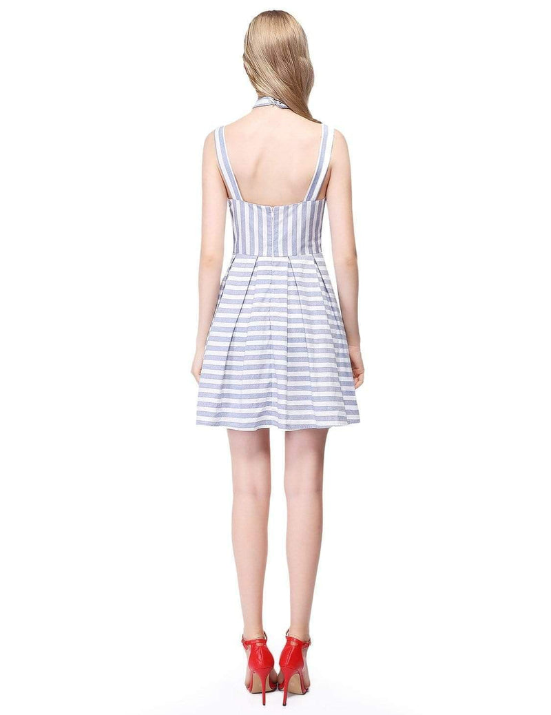 Alisa Pan Short Striped Dress With Fit & Flare Silhouette-White 3