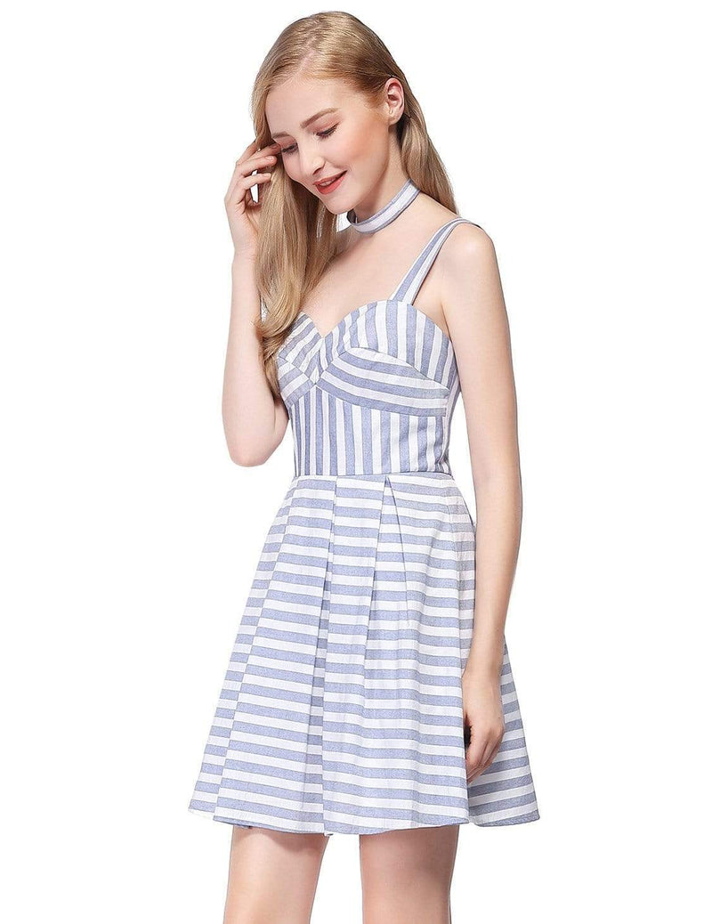 Alisa Pan Short Striped Dress With Fit & Flare Silhouette-White 4