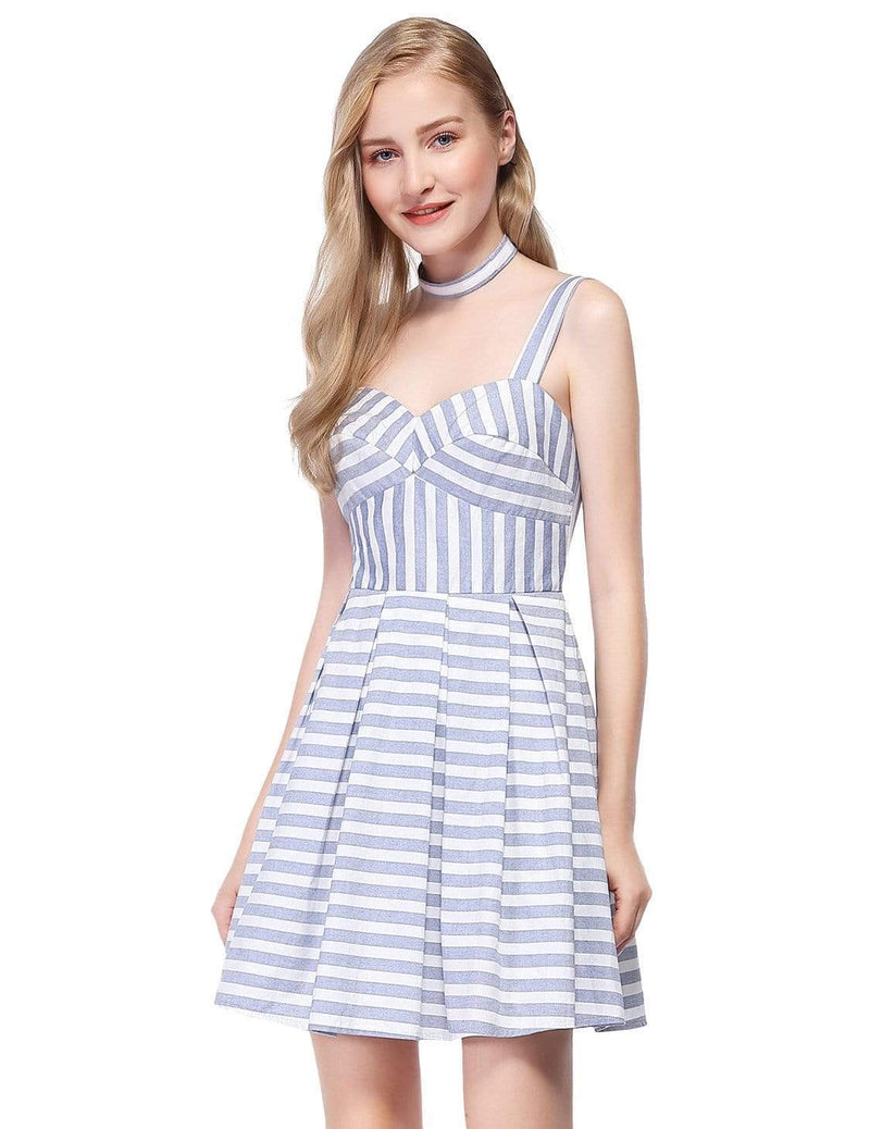 Alisa Pan Short Striped Dress With Fit & Flare Silhouette-White 5