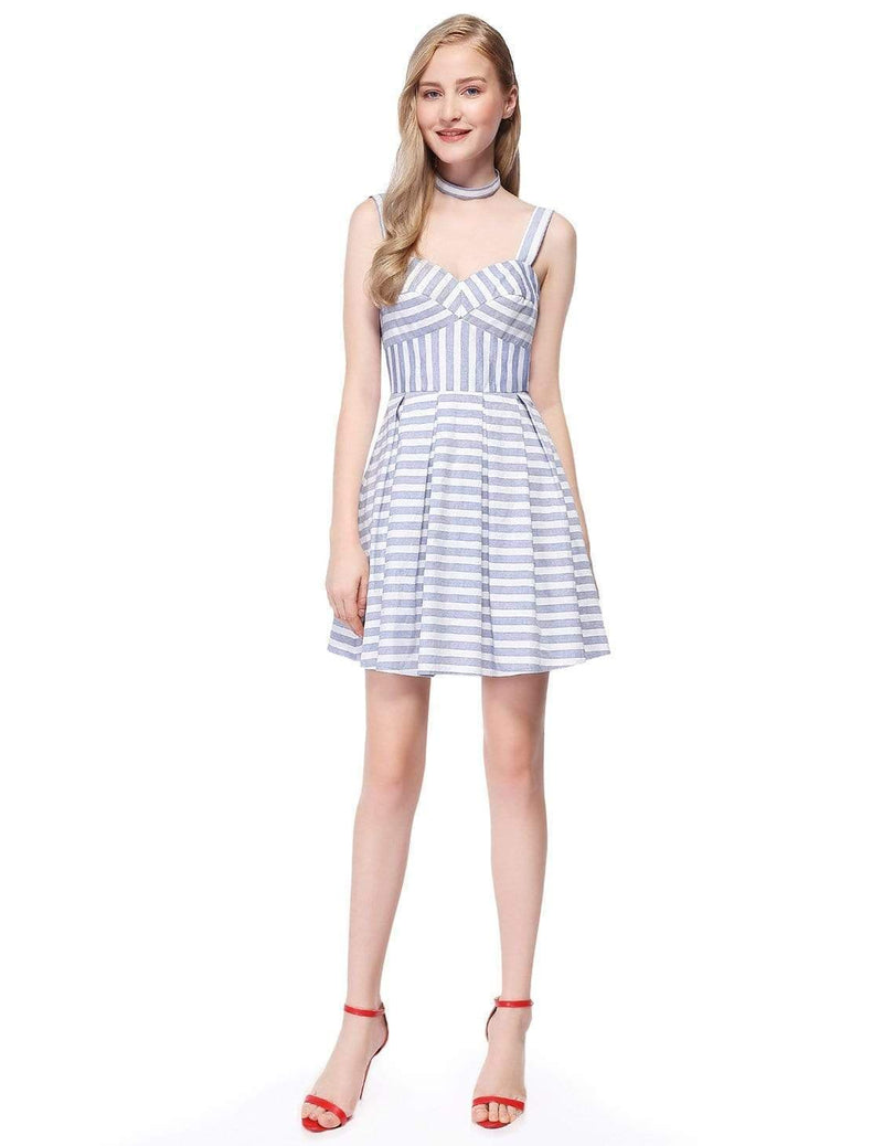 Alisa Pan Short Striped Dress With Fit & Flare Silhouette-White 1