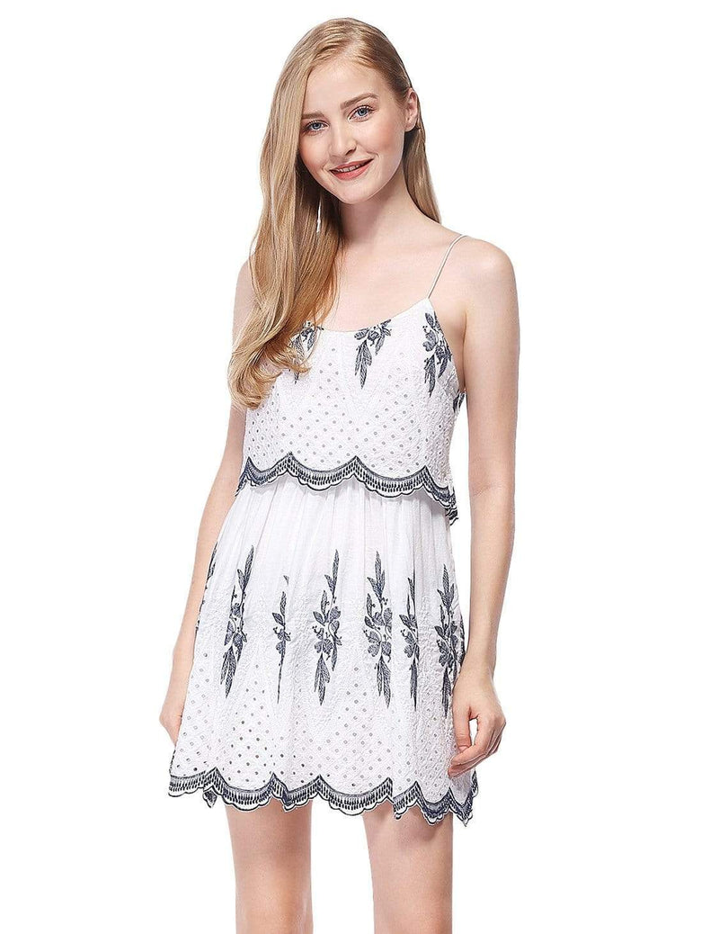 Alisa Pan Sleeveless Embroidered Boho Summer Dress-Cream 2