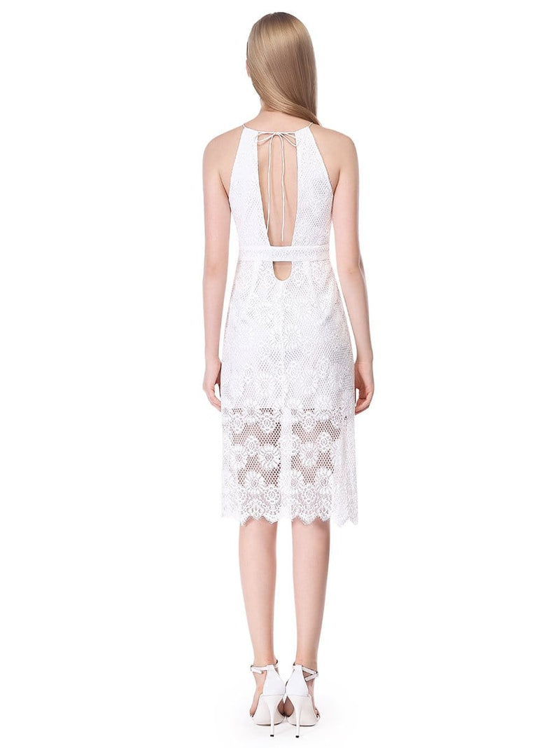 Alisa Pan Sleeveless Lace Midi Dress-Cream 2