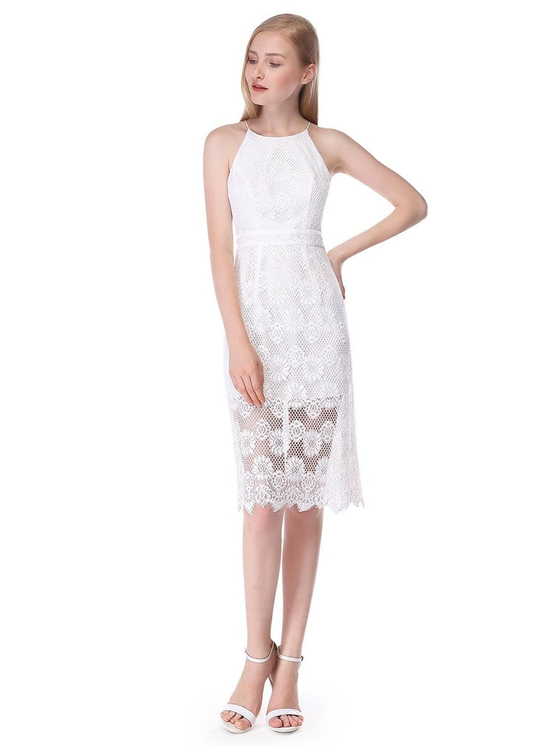 Alisa Pan Sleeveless Lace Midi Dress-Cream 5