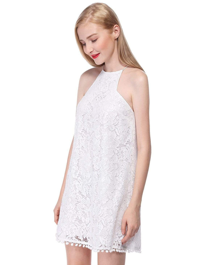 Alisa Pan Lace Shift Dress With Pom Poms-Cream 2