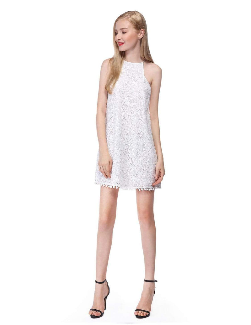 Alisa Pan Lace Shift Dress With Pom Poms-Cream 4
