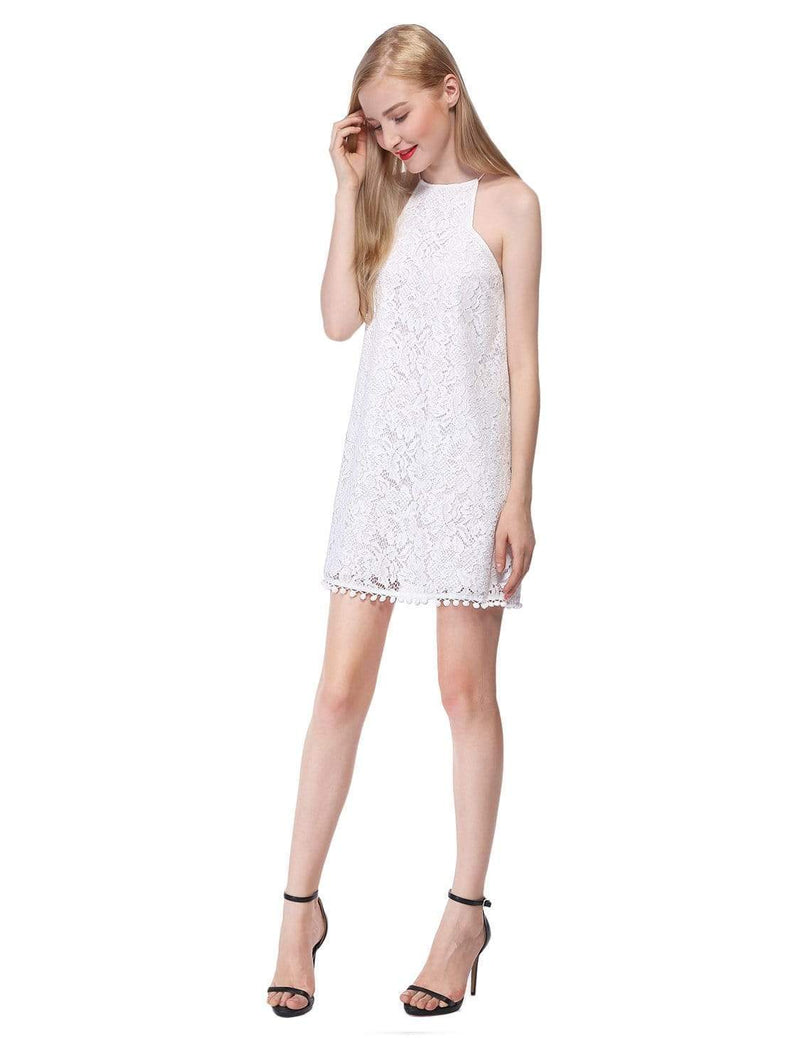 Alisa Pan Lace Shift Dress With Pom Poms-Cream 5
