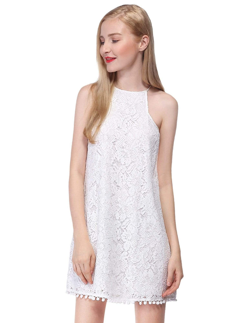 Alisa Pan Lace Shift Dress With Pom Poms-Cream 1