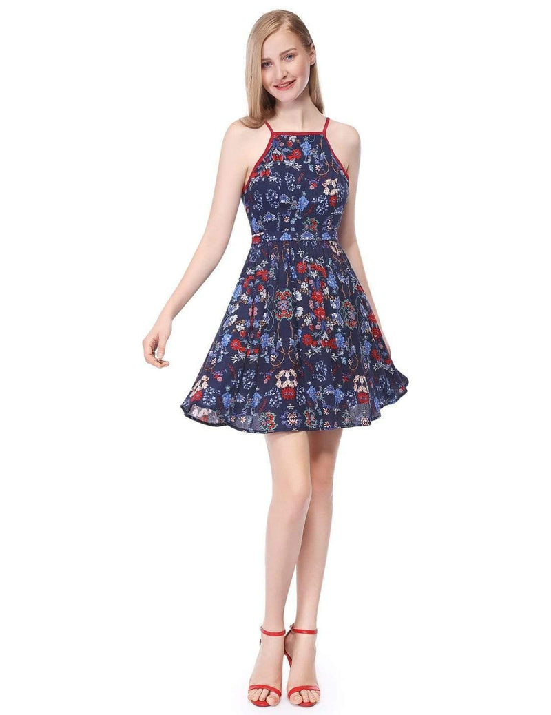 Alisa Pan Floral Printed Summer Sun Dress-Navy Blue 1