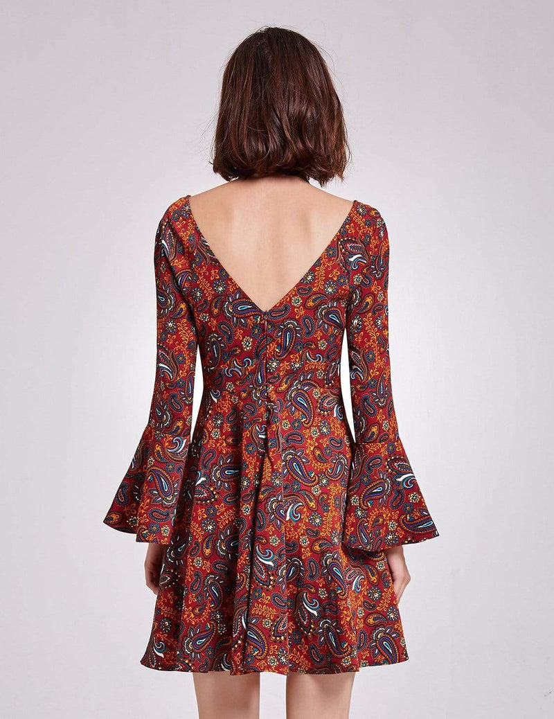 Alisa Pan V Neck Paisley Print Boho Dress-Burgundy 3