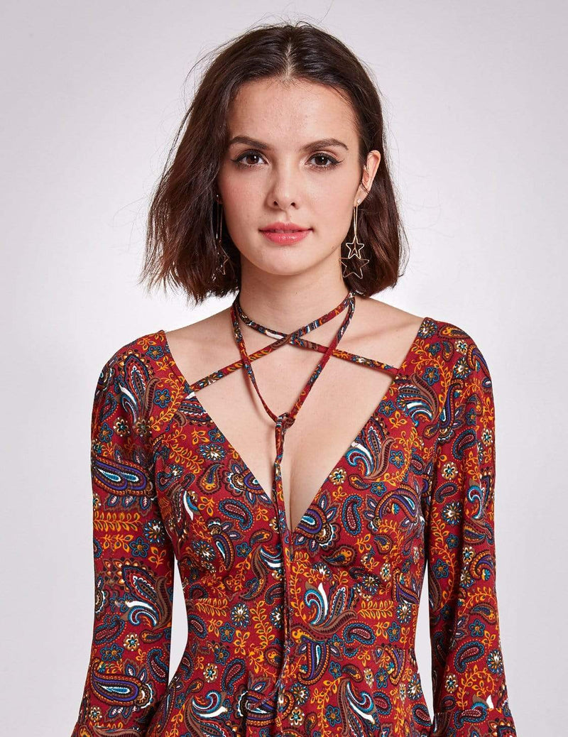 Alisa Pan V Neck Paisley Print Boho Dress-Burgundy 6