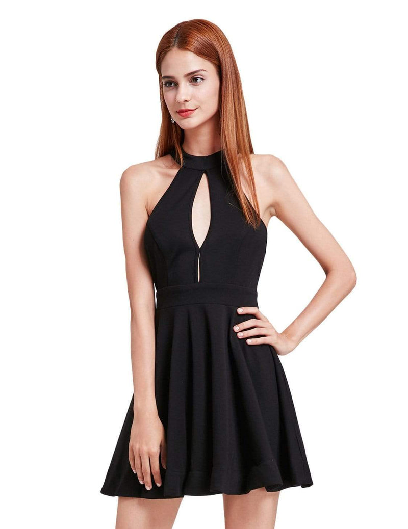 Alisa Pan Halter Neck Little Black Dress-Black 2