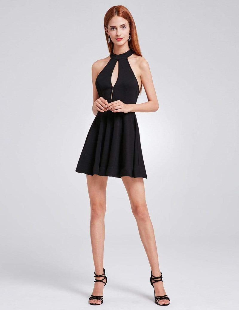 Alisa Pan Halter Neck Little Black Dress-Black 4