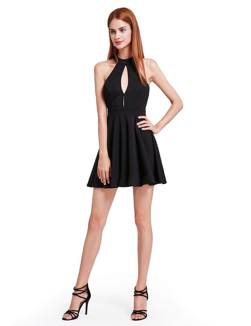 Alisa Pan Halter Neck Little Black Dress-Black 1