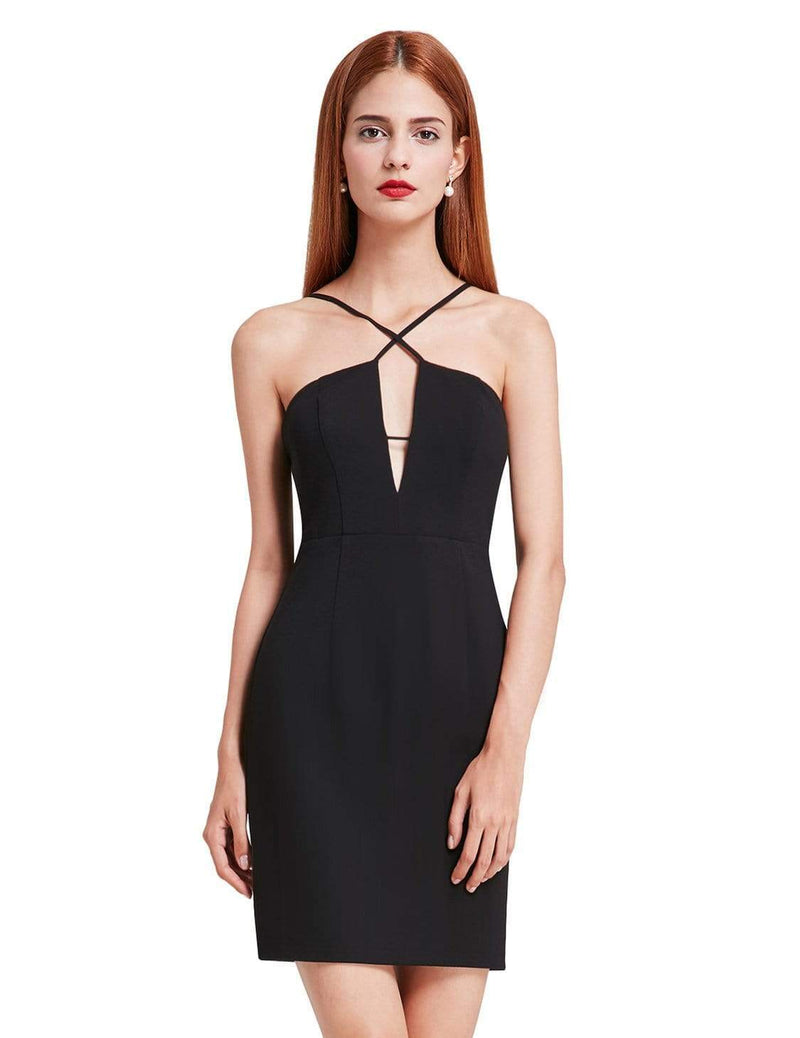 Alisa Pan Sexy Fitted Little Black Dress-Black 2